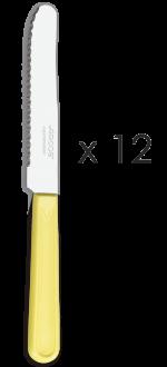 Juego cuchillos mesa amarillos 12 unidades