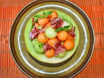 Ensalada de melón al cava y jamón ibérico
